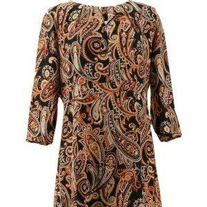 Liz Claiborne Crepe Dress Black Paisley HSN/QVC